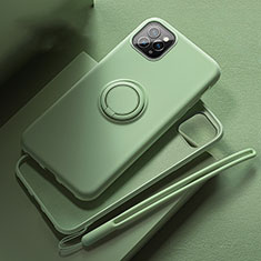 Coque Ultra Fine Silicone Souple Housse Etui avec Support Bague Anneau Aimante Magnetique T02 pour Apple iPhone 11 Pro Vert