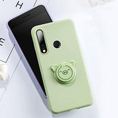 Coque Ultra Fine Silicone Souple Housse Etui avec Support Bague Anneau Aimante Magnetique T02 pour Huawei Honor 20E Vert