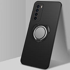 Coque Ultra Fine Silicone Souple Housse Etui avec Support Bague Anneau Aimante Magnetique T02 pour Huawei Honor Play4 5G Noir