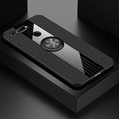 Coque Ultra Fine Silicone Souple Housse Etui avec Support Bague Anneau Aimante Magnetique T02 pour Huawei Honor View 20 Noir