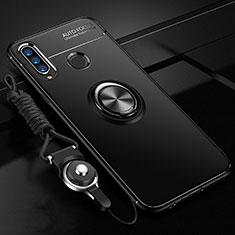Coque Ultra Fine Silicone Souple Housse Etui avec Support Bague Anneau Aimante Magnetique T02 pour Huawei P30 Lite Noir