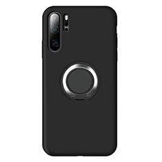 Coque Ultra Fine Silicone Souple Housse Etui avec Support Bague Anneau Aimante Magnetique T02 pour Huawei P30 Pro Noir