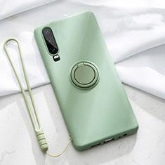 Coque Ultra Fine Silicone Souple Housse Etui avec Support Bague Anneau Aimante Magnetique T02 pour Huawei P30 Vert