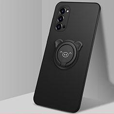Coque Ultra Fine Silicone Souple Housse Etui avec Support Bague Anneau Aimante Magnetique T02 pour Oppo Reno4 Pro 5G Noir