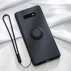 Coque Ultra Fine Silicone Souple Housse Etui avec Support Bague Anneau Aimante Magnetique T02 pour Samsung Galaxy S10e Noir