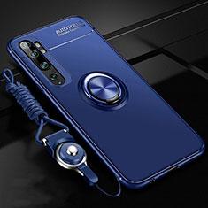 Coque Ultra Fine Silicone Souple Housse Etui avec Support Bague Anneau Aimante Magnetique T02 pour Xiaomi Mi Note 10 Bleu