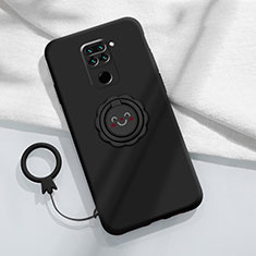 Coque Ultra Fine Silicone Souple Housse Etui avec Support Bague Anneau Aimante Magnetique T02 pour Xiaomi Redmi Note 9 Noir