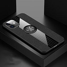 Coque Ultra Fine Silicone Souple Housse Etui avec Support Bague Anneau Aimante Magnetique T03 pour Apple iPhone 11 Noir