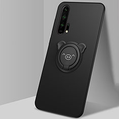 Coque Ultra Fine Silicone Souple Housse Etui avec Support Bague Anneau Aimante Magnetique T03 pour Huawei Honor 20 Pro Noir