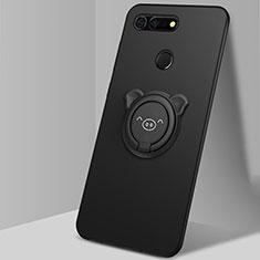 Coque Ultra Fine Silicone Souple Housse Etui avec Support Bague Anneau Aimante Magnetique T03 pour Huawei Honor View 20 Noir
