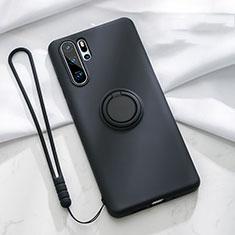 Coque Ultra Fine Silicone Souple Housse Etui avec Support Bague Anneau Aimante Magnetique T03 pour Huawei P30 Pro Noir