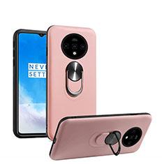 Coque Ultra Fine Silicone Souple Housse Etui avec Support Bague Anneau Aimante Magnetique T03 pour OnePlus 7T Or Rose