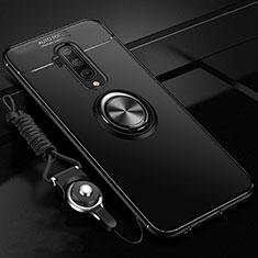 Coque Ultra Fine Silicone Souple Housse Etui avec Support Bague Anneau Aimante Magnetique T03 pour OnePlus 7T Pro Noir