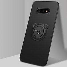 Coque Ultra Fine Silicone Souple Housse Etui avec Support Bague Anneau Aimante Magnetique T03 pour Samsung Galaxy S10e Noir
