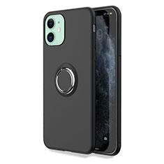 Coque Ultra Fine Silicone Souple Housse Etui avec Support Bague Anneau Aimante Magnetique T04 pour Apple iPhone 11 Noir