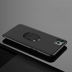 Coque Ultra Fine Silicone Souple Housse Etui avec Support Bague Anneau Aimante Magnetique T04 pour Apple iPhone 11 Pro Noir