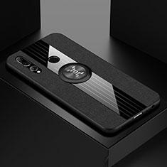 Coque Ultra Fine Silicone Souple Housse Etui avec Support Bague Anneau Aimante Magnetique T04 pour Huawei Honor 20 Lite Noir