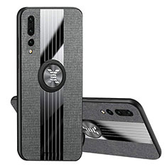 Coque Ultra Fine Silicone Souple Housse Etui avec Support Bague Anneau Aimante Magnetique T04 pour Huawei P20 Pro Noir