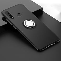 Coque Ultra Fine Silicone Souple Housse Etui avec Support Bague Anneau Aimante Magnetique T04 pour Huawei P30 Lite New Edition Noir