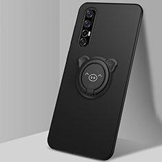 Coque Ultra Fine Silicone Souple Housse Etui avec Support Bague Anneau Aimante Magnetique T04 pour Oppo Find X2 Neo Noir