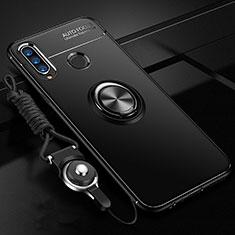 Coque Ultra Fine Silicone Souple Housse Etui avec Support Bague Anneau Aimante Magnetique T05 pour Huawei Honor 20 Lite Noir