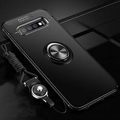 Coque Ultra Fine Silicone Souple Housse Etui avec Support Bague Anneau Aimante Magnetique T05 pour Samsung Galaxy S10 Plus Noir