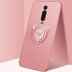 Coque Ultra Fine Silicone Souple Housse Etui avec Support Bague Anneau Aimante Magnetique T05 pour Xiaomi Mi 9T Pro Rose