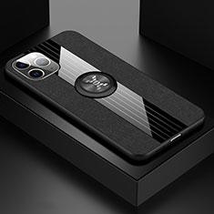 Coque Ultra Fine Silicone Souple Housse Etui avec Support Bague Anneau Aimante Magnetique T06 pour Apple iPhone 11 Pro Max Noir