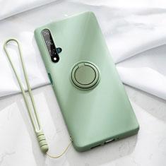 Coque Ultra Fine Silicone Souple Housse Etui avec Support Bague Anneau Aimante Magnetique T06 pour Huawei Nova 5T Vert