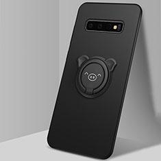 Coque Ultra Fine Silicone Souple Housse Etui avec Support Bague Anneau Aimante Magnetique T06 pour Samsung Galaxy S10 Noir