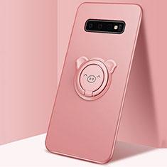 Coque Ultra Fine Silicone Souple Housse Etui avec Support Bague Anneau Aimante Magnetique T06 pour Samsung Galaxy S10 Plus Rose