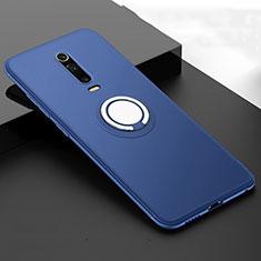 Coque Ultra Fine Silicone Souple Housse Etui avec Support Bague Anneau Aimante Magnetique T06 pour Xiaomi Mi 9T Pro Bleu