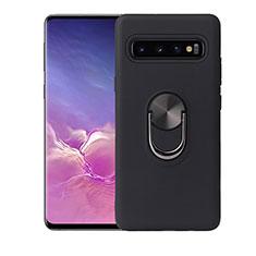 Coque Ultra Fine Silicone Souple Housse Etui avec Support Bague Anneau Aimante Magnetique T07 pour Samsung Galaxy S10 Noir
