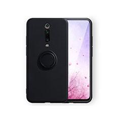 Coque Ultra Fine Silicone Souple Housse Etui avec Support Bague Anneau Aimante Magnetique T07 pour Xiaomi Mi 9T Pro Noir