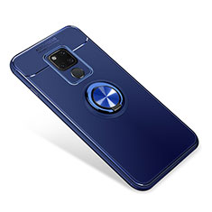 Coque Ultra Fine Silicone Souple Housse Etui avec Support Bague Anneau Aimante pour Huawei Mate 20 Bleu