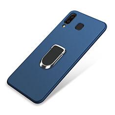 Coque Ultra Fine Silicone Souple Housse Etui avec Support Bague Anneau Aimante pour Samsung Galaxy A8 Star Bleu