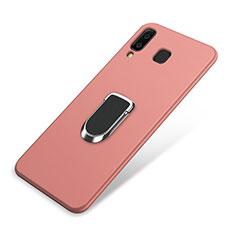 Coque Ultra Fine Silicone Souple Housse Etui avec Support Bague Anneau Aimante pour Samsung Galaxy A8 Star Rose