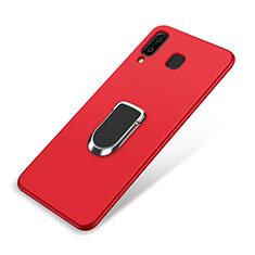 Coque Ultra Fine Silicone Souple Housse Etui avec Support Bague Anneau Aimante pour Samsung Galaxy A8 Star Rouge