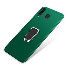 Coque Ultra Fine Silicone Souple Housse Etui avec Support Bague Anneau Aimante pour Samsung Galaxy A8 Star Vert
