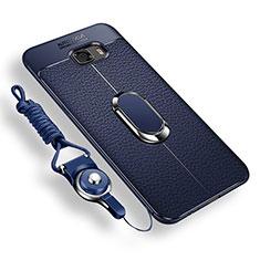 Coque Ultra Fine Silicone Souple Housse Etui avec Support Bague Anneau Aimante pour Samsung Galaxy C9 Pro C9000 Bleu