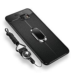 Coque Ultra Fine Silicone Souple Housse Etui avec Support Bague Anneau Aimante pour Samsung Galaxy C9 Pro C9000 Noir