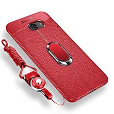 Coque Ultra Fine Silicone Souple Housse Etui avec Support Bague Anneau Aimante pour Samsung Galaxy C9 Pro C9000 Rouge