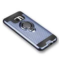 Coque Ultra Fine Silicone Souple Housse Etui avec Support Bague Anneau Aimante pour Samsung Galaxy S7 G930F G930FD Bleu