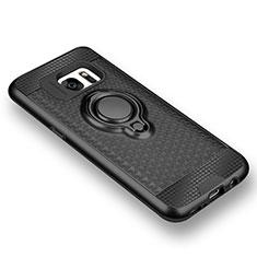 Coque Ultra Fine Silicone Souple Housse Etui avec Support Bague Anneau Aimante pour Samsung Galaxy S7 G930F G930FD Noir