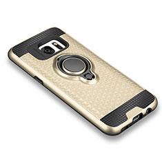 Coque Ultra Fine Silicone Souple Housse Etui avec Support Bague Anneau Aimante pour Samsung Galaxy S7 G930F G930FD Or