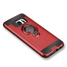 Coque Ultra Fine Silicone Souple Housse Etui avec Support Bague Anneau Aimante pour Samsung Galaxy S7 G930F G930FD Rouge