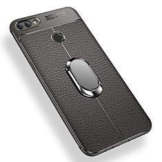 Coque Ultra Fine Silicone Souple Housse Etui avec Support Bague Anneau Aimante pour Xiaomi Mi 8 Lite Gris