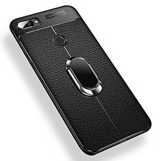Coque Ultra Fine Silicone Souple Housse Etui avec Support Bague Anneau Aimante pour Xiaomi Mi 8 Lite Noir