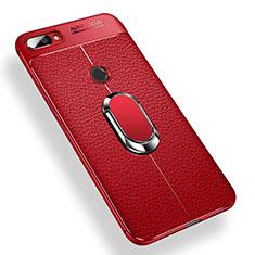 Coque Ultra Fine Silicone Souple Housse Etui avec Support Bague Anneau Aimante pour Xiaomi Mi 8 Lite Rouge