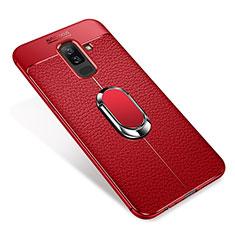 Coque Ultra Fine Silicone Souple Housse Etui avec Support Bague Anneau Aimante S01 pour Samsung Galaxy A6 Plus Rouge